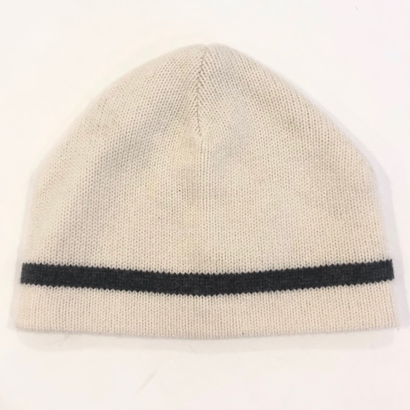 NWT Aether cream cashmere stripe hat 13d7894325d